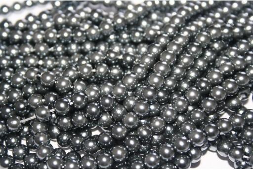 Glass Pearls Strand Grey 6mm - 74pcs