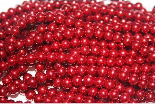Glass Pearls Strand Bordeaux 6mm - 74pcs