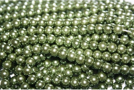 Glass Pearls Strand Green 6mm - 74pcs