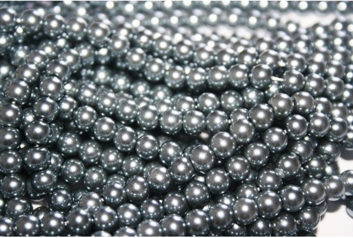 Glass Pearls Strand Light Grey 6mm - 74pcs