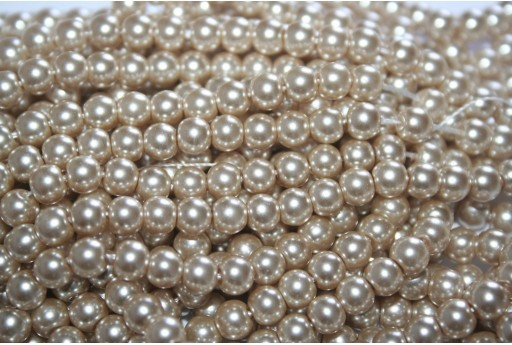 Glass Pearls Strand Light Beige 6mm - 74pcs