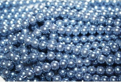 Glass Pearls Strand Light Blue 6mm - 74pcs
