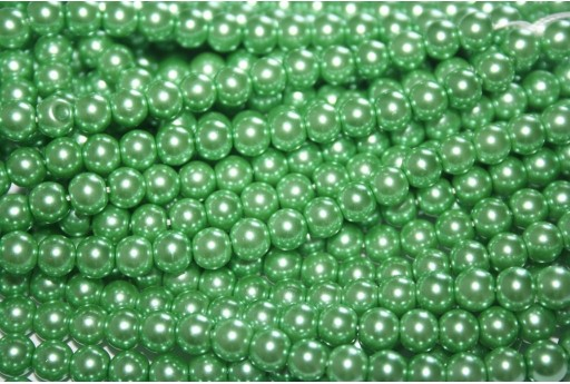 Glass Pearls Strand Medium Green 6mm - 74pcs