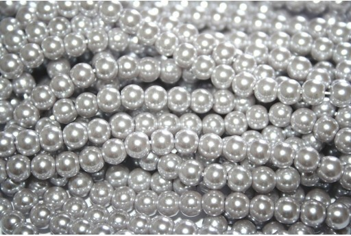 Glass Pearls Strand Grey Cream 6mm - 74pcs