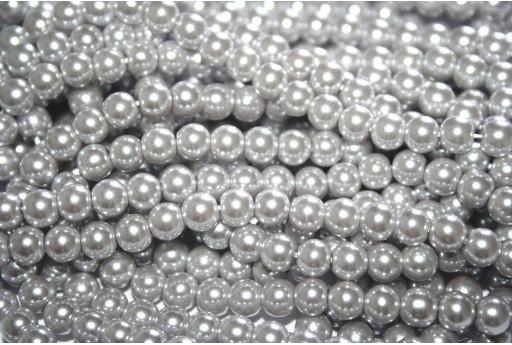 Perle Cerate Vetro Grigio Crema 6mm - 74pz