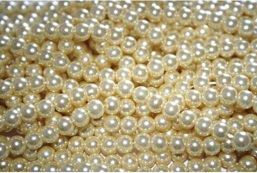 Perle Cerate Vetro Giallo Paglia 6mm - 74pz
