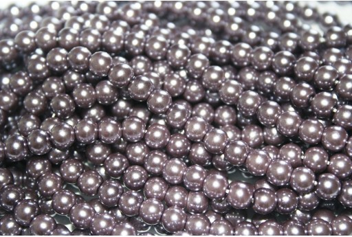 Glass Pearls Strand Light Brown 6mm - 74pcs