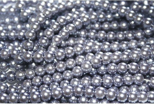 Glass Pearls Strand Lavender 6mm - 74pcs