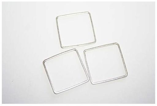 Componente Metallo Argento Forma Geometrica Quadrato 20x20mm - 4pz
