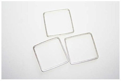 Square Wireframe Silver 20x20mm - 4pcs