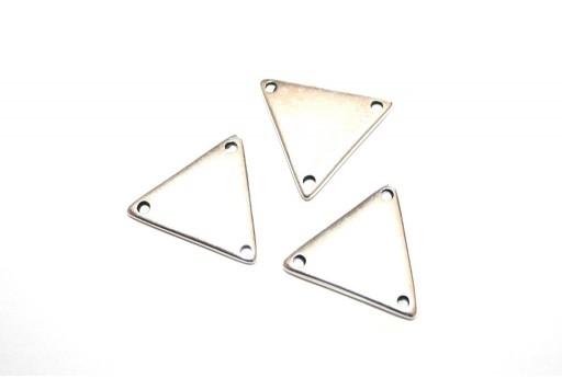 Componente Metallo Argento Triangolo 3 Fori 17x19mm - 2pz