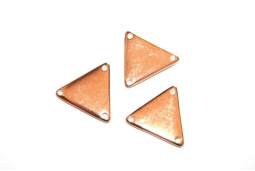Component Triangular With 3 Hole Rose Gold 17x19mm - 2pcs
