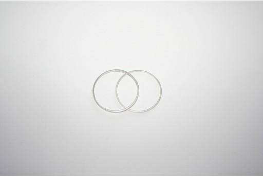 Componente Metallo Argento Forma Geometrica Cerchio 30mm - 4pz