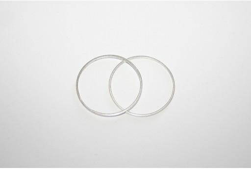 Componente Metallo Argento Forma Geometrica Cerchio 40mm - 2pz