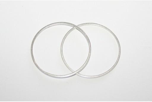 Componente Metallo Argento Forma Geometrica Cerchio 50mm - 2pz