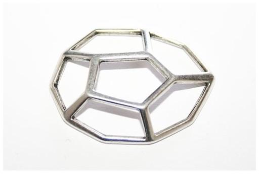 Componente Metallo 3D Argento 32x25mm- 1pz
