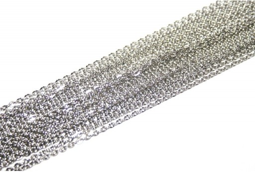 Platinum Plated Steel Chain Rolo' 2x1,5mm - 2mt