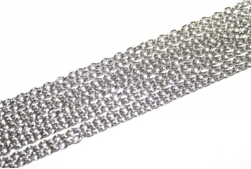 Platinum Plated Steel Chain Oval 3x2x0,6mm - 2mt