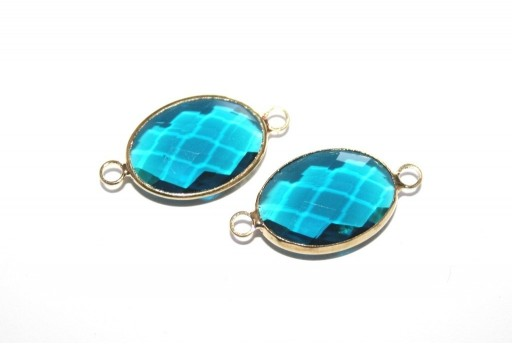 Gold Plated Precious Link Crystal Teal Oval 26x14mm - 1pcs