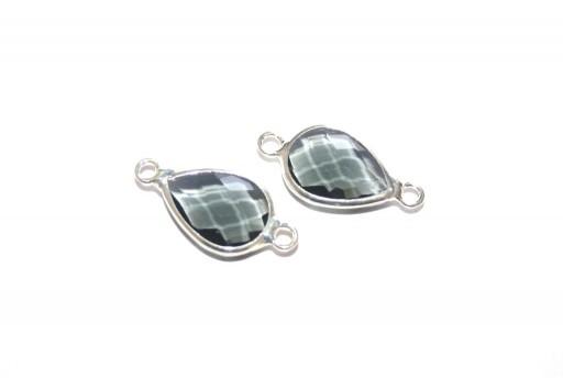 Silver Plated Precious Link Crystal Grey Drop 22x11mm - 1pcs