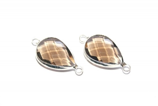 Silver Plated Precious Link Crystal Brown Drop 26x13mm - 1pcs