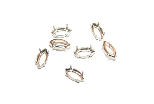 Platinum Setting Navette 5x10mm - 16pcs
