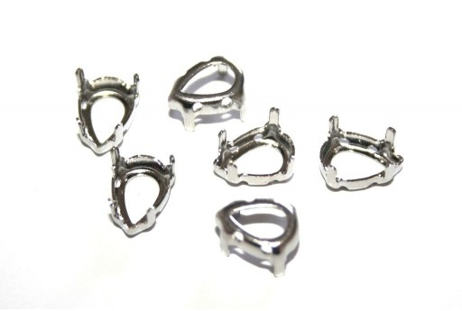 Platinum Setting  for Drop 7x10mm - 12pcs