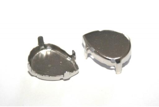 Castone per Cabochon Goccia Platino 13x18mm - 10pz