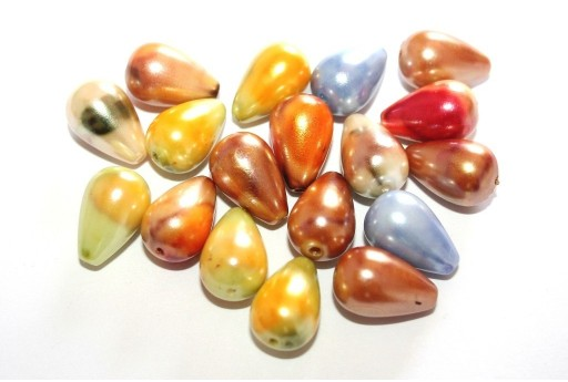 Pearl Acrylic Drop Beads Multicolor 15x10mm - 20pcs