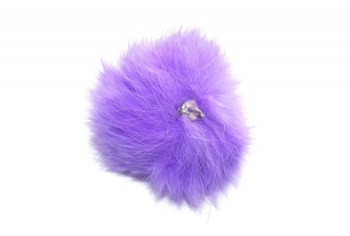 PomPon Fur Whit Ring Purple 60mm - 1pcs