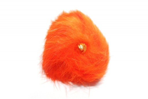 PomPon Fur Whit Ring Orange 60mm - 1pcs