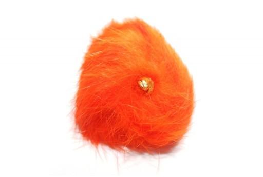 PomPon Fur Whit Ring Orange 60mm - 1pcs