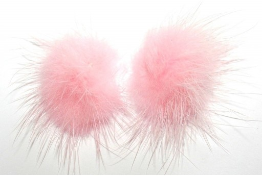 PomPon Fur Whit Ring Pink 25mm - 2pcs