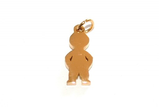 Stainless Steel Boy Charms Golden 16x7mm -1pcs