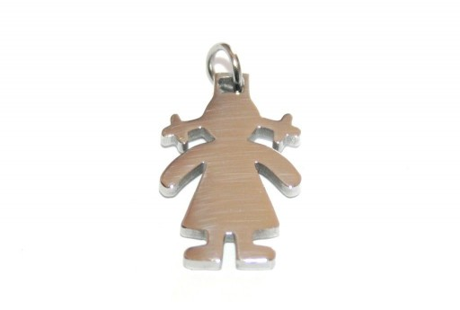 Stainless Steel Girl Charms 18x12mm -1pcs