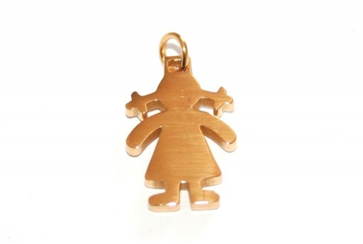 Stainless Steel Girl Charms Golden 18x12mm -1pcs