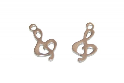 Stainless Steel Treble Clef Charms 15x8mm -6pcs