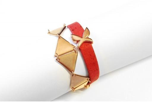 Kit Bracciale Triangoli e Corda Piatta Rossa