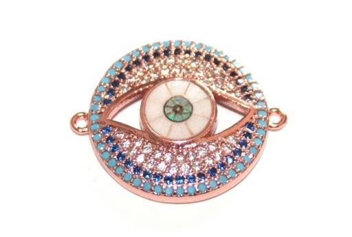Link Cubic Zirconia Occhio Tondo - Oro Rosa 20mm - 1pz