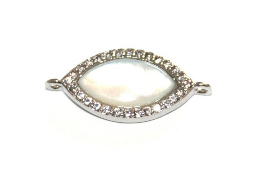 Link Cubic Zirconia Oval Mother of Pearl - Silver 11x20mm - 1pcs