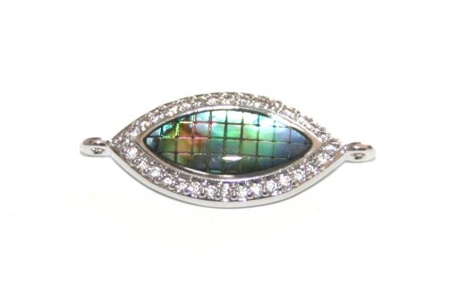 Link Cubic Zirconia Oval Abalone Shell - Silver 10x25mm - 1pcs