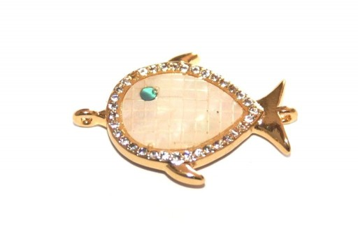 Link Cubic Zirconia Fish Shell - Gold 16x24mm - 1pcs