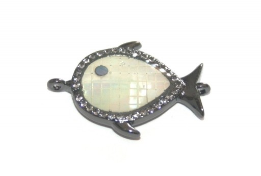 Link Cubic Zirconia Fish Shell - Black 16x24mm - 1pcs