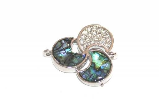 Link Cubic Zirconia Lune Abalone Shell - Argento 18x16mm - 1pz
