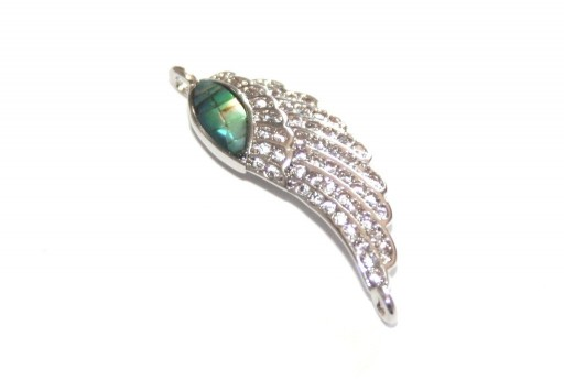 Link Cubic Zirconia Angel Wing Abalone Shell - Silver 25x8mm - 1pcs