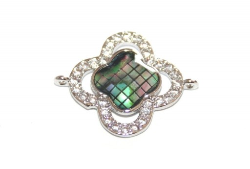 Link Cubic Zirconia Flower Abalone Shell - Silver 23x18mm - 1pcs