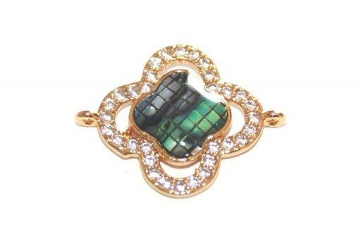 Link Cubic Zirconia Flower Abalone Shell - Gold 23x18mm - 1pcs