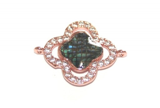 Link Cubic Zirconia Fiore Abalone Shell - Oro Rosa 23x18mm - 1pz