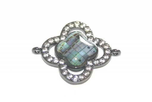 Link Cubic Zirconia Flower Abalone Shell - Black 23x18mm - 1pcs