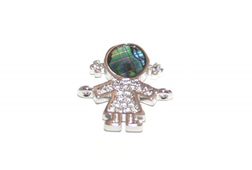 Link Cubic Zirconia Bambina Abalone Shell -  Argento 15x15mm - 1pz